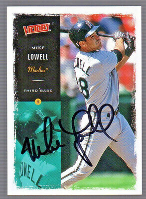 MIKE LOWELL Autographed SIGNED MARLINS UPPER DECK VICTORY CARD #174 wCOA