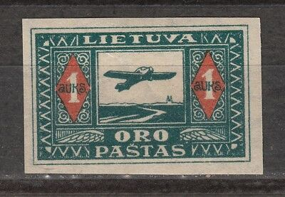 LITHUANIA – Airmail 12a * MH  IMPERFORATED – 1921-22 – Kaunas-Königsberg