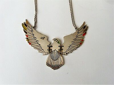 """Vintage Silver Plate Horus - The Egyptian Falcon God Necklace 19"""""""