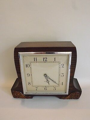 Smiths Art Deco Style Oak Cased 8-Day Mantel Clock 1930-40's - Working Order