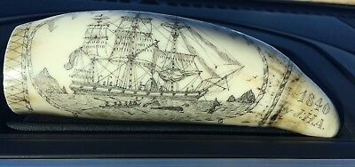 Vintage Faux Scrimshaw Resin Sperm Whale Tooth My Love Jayne, The Ship Albatross