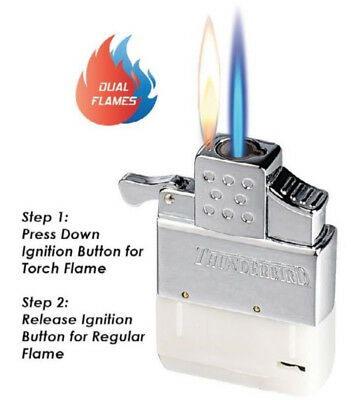 Vector Thunderbird Butane Dual Flame Lighter Insert Soft FLAME and TORCH Refill
