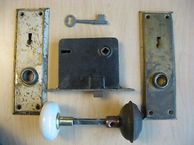 Antique Eastlake Era, White Glass & Metal Door Knobs, Back Plates & Mortise Lock