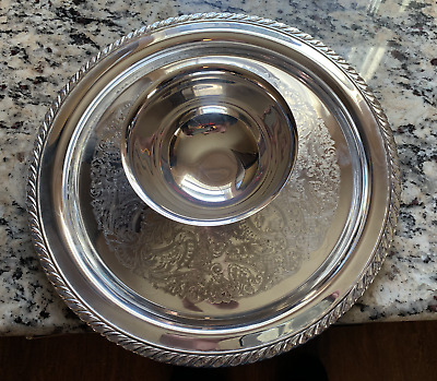 Oneida vintage Silver Serving vegetable veggie dip Tray plate dish with bowl