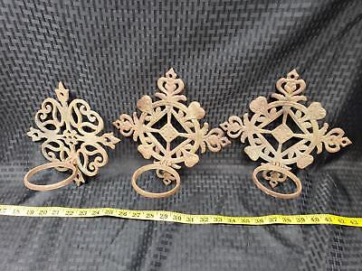 Set of 3 Vintage Cast Iron Wall Mount Vase or Candle Holders