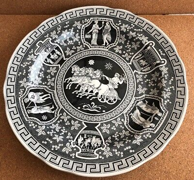 """SPODE Archive Collection Black """"Greek"""" Dinner Plate 10.5"""" MINT"""