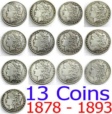 Roll 13 Morgan Silver Dollars Coin 1878 - 1893  O Collectible Lot US MIXED DATE