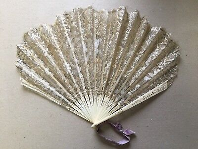 Framable Antique Victorian Hand Fan Carved & Painted Bone Gold Lace Silk Overlay