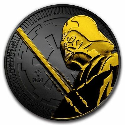 2018 1 Oz Silver Niue $2 DARTH VADER LIGHTSABER Ruthenium Coin WITH 24K GOLD.