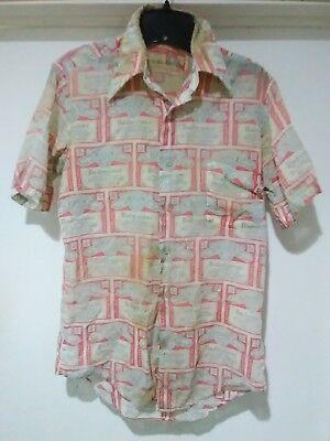 Vintage BUDWEISER Beer All Over Print Button Down Shirt Thin 70s M Distressed