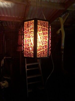 VINTAGE Amber RETRO MID CENTURY LUCITE CHUNK SWAG HANGING LAMP
