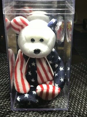 """1999 Ty Original Beanie Babies SPANGLE The Patriotic Bear Red Face w/Tags (9"""")"""