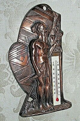Vintage Copper Metal Aboriginal Warrior Hunter & Thermometer Working Wall Plaque