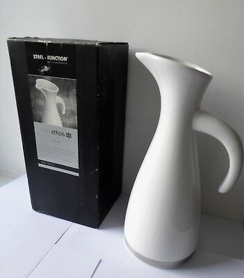 Modern Ethos White & Stainless Steel Ceramic Pitcher / Jug With Box