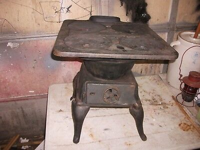 Antique Vintage Small Wood Parlor Cook Stove Art Deco Iron Potbelly Montgomery w