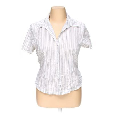 ed24dff809323 ST.JOHNS BAY WOMEN Button Front Shirt Plus Size Cotton White ...