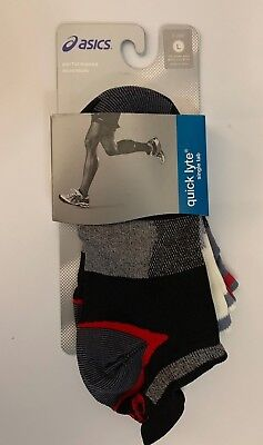 NEW 3 Pairs of Mens Asics Quick Lyte Cushion Single Tab running socks L (9.5-11)