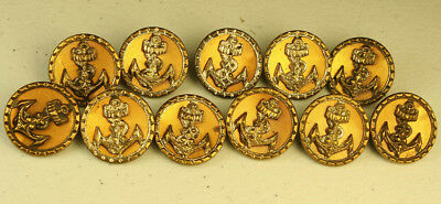 Set of 11 Antique Brass Buttons, Anchor w/ Crown