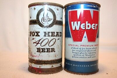 Fox Head 400 & Weber Beer 12 oz flat top beer cans from Waukesha, Wisconsin