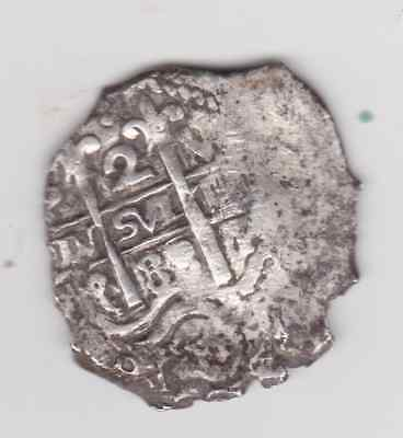 1688 VR LIMA 2 REALes  COB CHARLES II ASSAYER VR  COLONIAL SILVER SPANISH