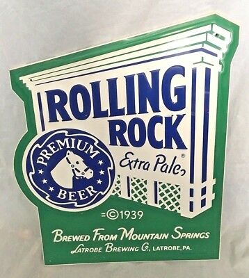 "Rolling Rock Extra Pale Metal Beer Sign  19"" x 15"""