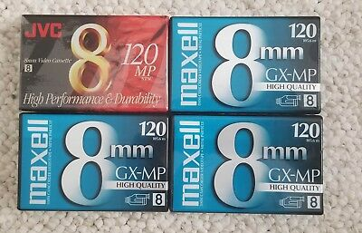Lot of 4 Maxell GX-MP And JVC 120 8mm Blank Tape Camcorder Videotapes NIP Sealed