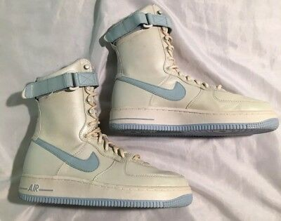 the best attitude b4013 d9f9e VTG NIKE AIR Force 1 One Super High Top Boots Shoes White and Blue Women's  6.5