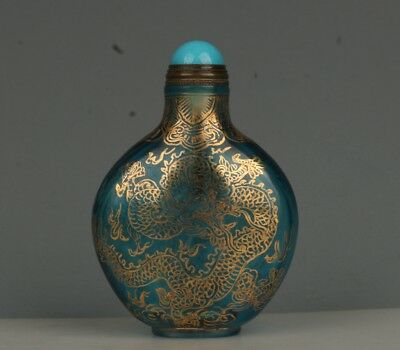 Chinese Exquisite Handmade Dragon and Phoenix Pattern Glass snuff bottle