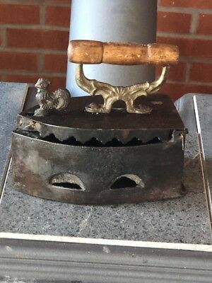Antique Vintage solid brass Coal Heated Iron With Rooster Latch