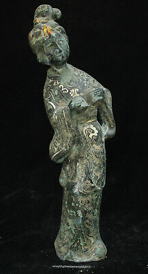 Certified 100% China Ancient silver Bronze Ware woman beauty Statue sculpture