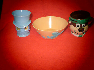 Vintage Jiminy Cricket, Yogi Bera Cups And Huckleberry Hound Cereal Bowl--Used