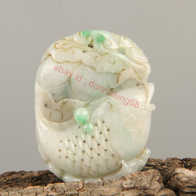 Chinese Exquisite Hand-carved fish Carving jadeite jade Pendant