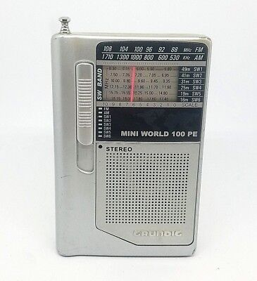 Grundig Mini World 100 PE Pocket Shortwave Radio SW AM FM
