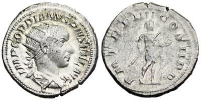 Gordian III P M TR P IIII COS II P P; Gordian in military dress from Rome