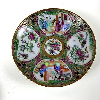 Small Antique Chinese Porcelain Plate Saucer Rose Medallion