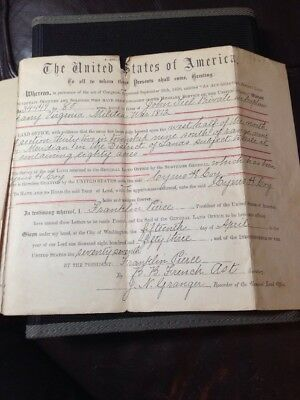 Historical Autographs Franklin Pierce 1850 Twice Signed Historial Land Grant!