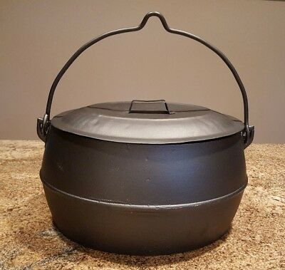 Antique Marietta Pa 2 ½ Gal Cast Iron Kettle With Bale & Tin Lid (C.1870-1899)