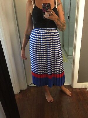 70s/80s Vintage Blue Stripe Pleated Skirt With Red Accent Size AU14