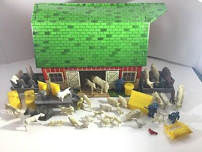 Marx Lazy-Day Farm Tin Barn Animals Accessories Farmers - Incomplete