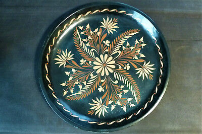 """XL Vintage Mexican Encised Lacquered Tray Batea from Uruapan 18"""" x 2"""""""
