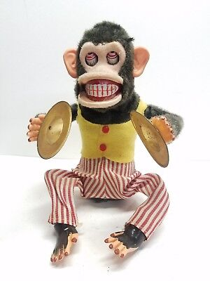 Vintage CK Musical Jolly Chimp Cymbal Playing Clapping Monkey Toy Japan Parts