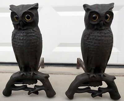 Beautiful Vintage Cast Iron Owl Andirons with Amber Glass Eyes! Fireplace Decor