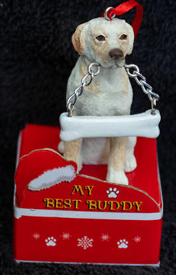 Labrador Yellow Statue with Bone Best Buddy Dog Breed Christmas Ornament