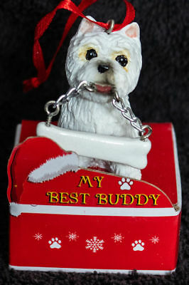 West Highland Westie Statue with Bone Best Buddy Dog Breed Christmas Ornament
