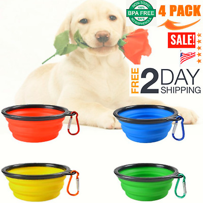 4 Portable Travel Collapsible Foldable Pet Dog Bowl for Food & Water Bowls Dish