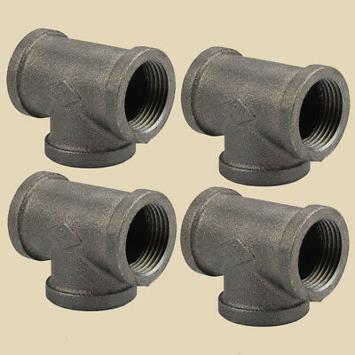 4PACK 1 Inch Black Malleable Iron Pipe Threaded Tee Fitting Decor style
