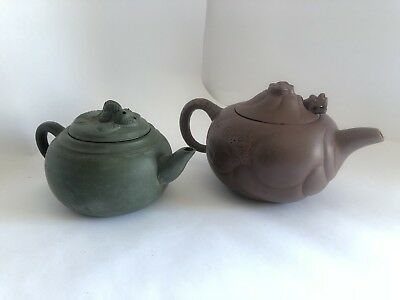 Pair Of Antique Yixing Style Articulating Teapots - Dragon, Koi. Rare Form