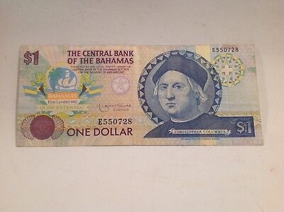 1974 One Dollar Bahamas Banknote, Christopher Columbus.