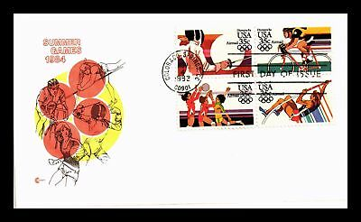 Dr Jim Stamps Us Olympic Summer Games Air Mail Block Of Four Fdc Cover Craft