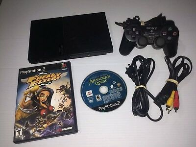 Sony Playstation 2 PS2 Slim Console Controller AV Cord Game Bundle -FREE SHIP